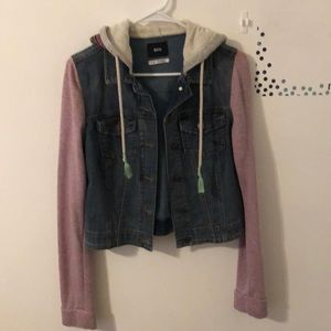 Hooded denim jacket with light purple sleeves